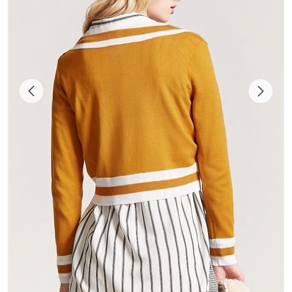 7d3aaa6928a9 Forever 21 Sweaters | Mustard Stripe Vneckline Sweater | Poshmark